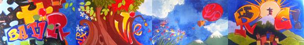 Création d'une fresque géante à plusieurs mains par les enfants de l'école de Boëge (Haute-savoie)