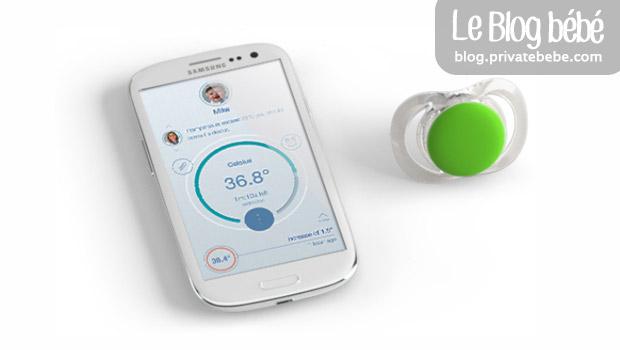 Tétine connectée bluetooth pour veiller sur bébé - Pacif-I