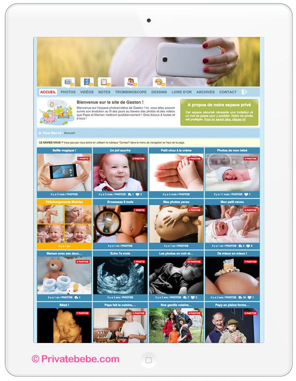 Sur ordi, tablette ou smartphone, papy, mamie et toute votre famille sera ravie de pouvoir suivre l'évolution de votre bébé