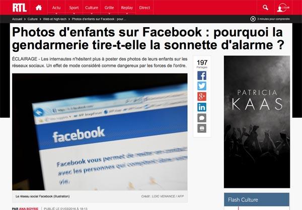 La gendarmerie nationale déconseille de partager des photos de ses enfants sur Facebook